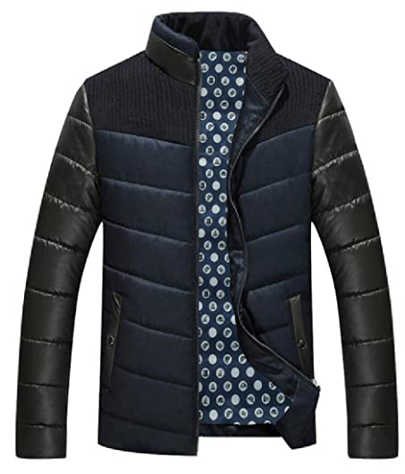 Zimaes Men Workout Band Collar Thick Hooded Warm Quilted Jacket at ... : are quilted jackets warm - Adamdwight.com