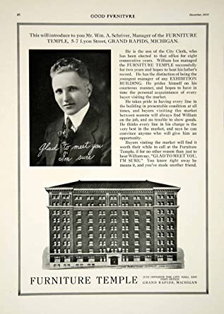 1916 Ad Furniture Temple 5 7 Lyon Street Grand Rapids MI William A Schriver