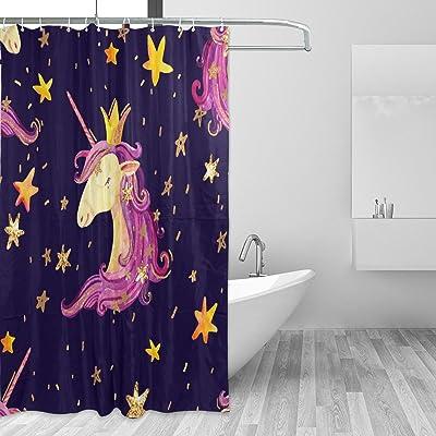 Vantaso Shower Curtains 72x72 Purple Unicorn With Golden Stars Mildew Resistant For Bathroom Kids Boys Girls