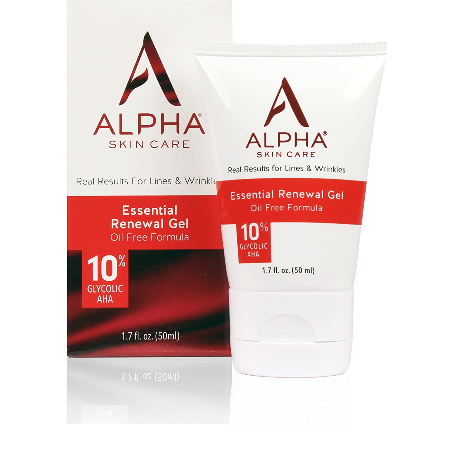 Alpha Skin Care Essential Renewal Gel | Anti-Aging Formula | 10% Glycolic Alpha Hydroxy Acid (AHA) | Reduces the Appearance of Lines & Wrinkles | Oily & Breakout Prone Skin | 1.7 Oz