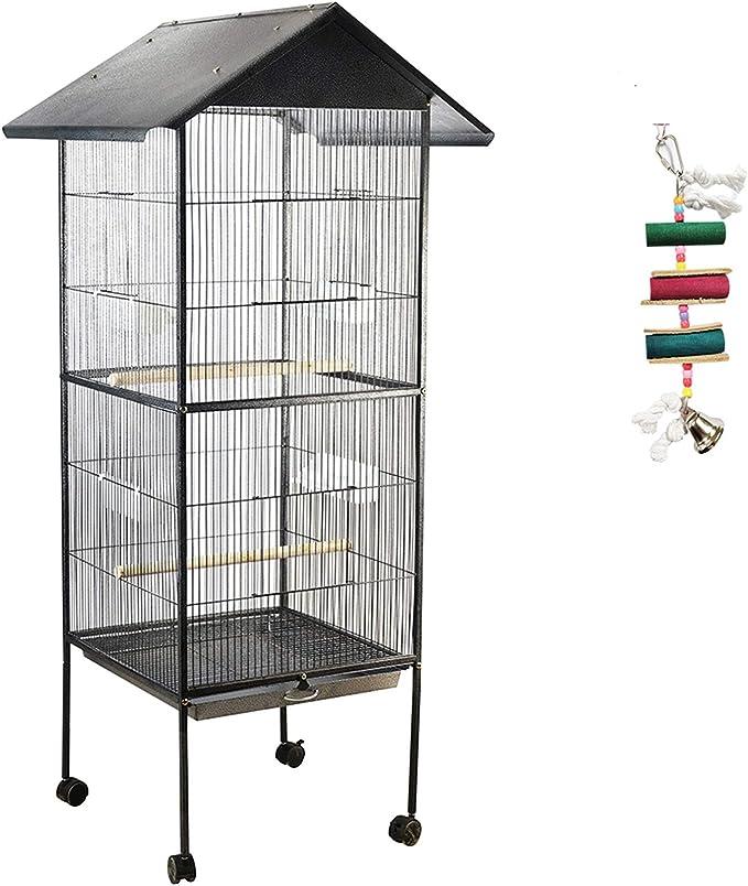 IKAYAA Jaula de Metal para Pájaro Negro Mascotas 52 * 52 * 160 cm / 20.5 * 20.5 * 63.0in, Cantidad 1 PC con 4 comederos, 1 bandejas, 4 Ruedas