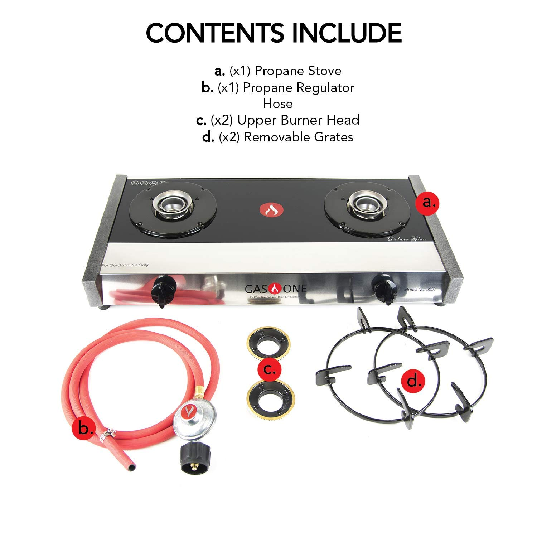 Amazon.com: Gas One 5058 Premium Gas Stove Range with Propane Regulator-2 Burner Tempered Glass Cooktop Auto Ignition: Appliances