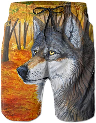 Wolf Men Fashion Summer Beach Pants Quick-Dry Swim Trunks Board Shorts