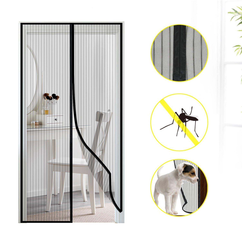 Mture Mosquitera puerta magnetica, Mosquito Puerta Protecció n de Insectos Cortina magné tica Mosca Cortina para sala de estar balcó n 90x210cm, Negro