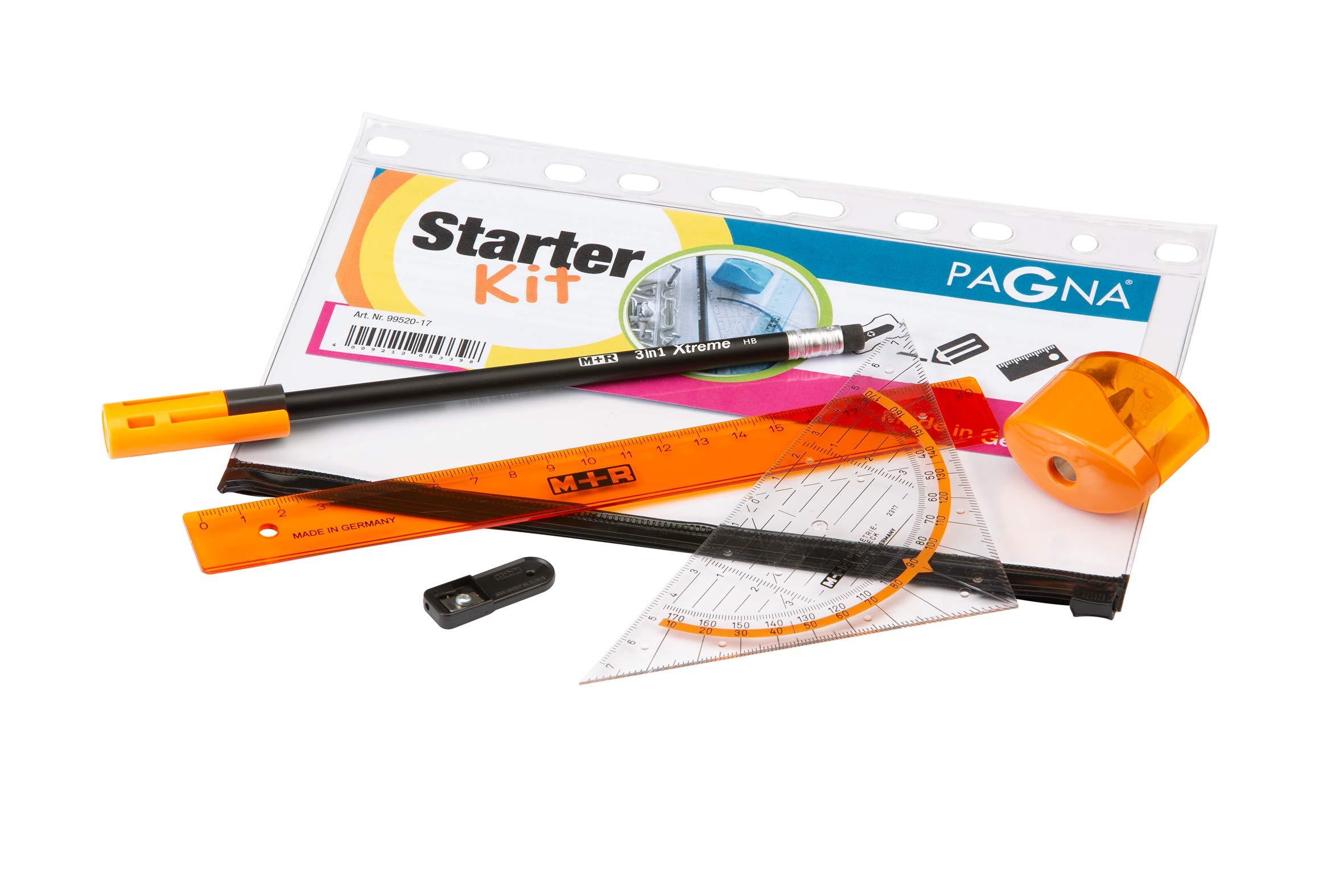 Pagna 9952009Starter Kit Orange Drawing Set for Filing), Sharpener, Ruler, Geometric Triangle & Pencil