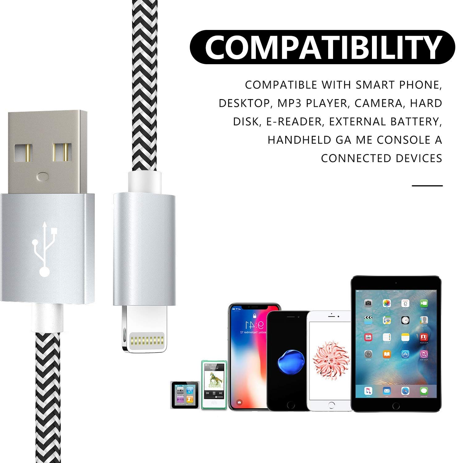 iPad Mini 6s Plus 7 6 MFi Certified Lightning Cable 5Pack 3FT+3FT+6FT+6FT+10FT Nylon Braided iPhone Cable Compatible iPhone X 8 6 Plus iPhone Charger Cable 6s 8 Plus