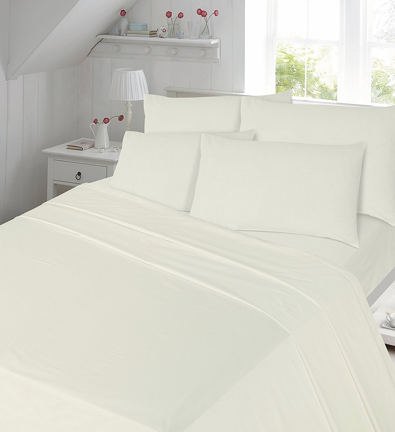 Cream Flannelette Sheet Set King size Fitted Sheet, Flat Sheet , 2x Pillowcases Bed Sheet Set King Size Comfy Nights