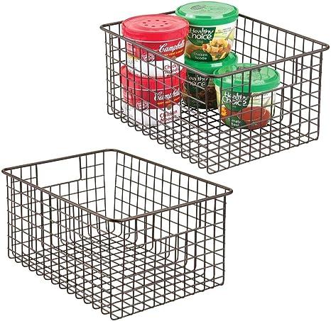 "Bronze 12/"" x 6/"" x 6/"" mDesign Metal Wire Food Storage Organizer Bin"