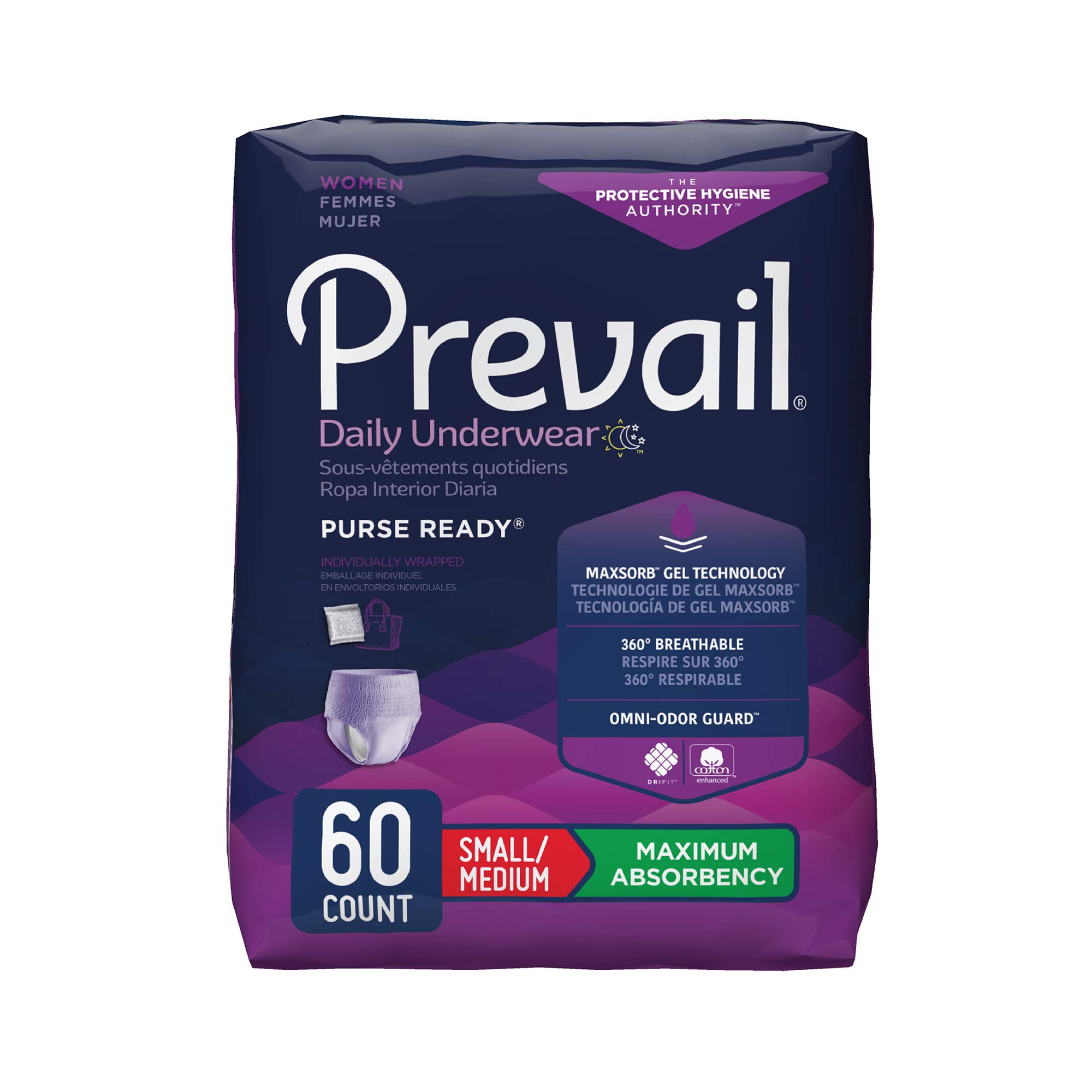 Prevail Maximum Absorbency Incontinence Underwear for Women, Small/Medium, 60 Count by Prevail
