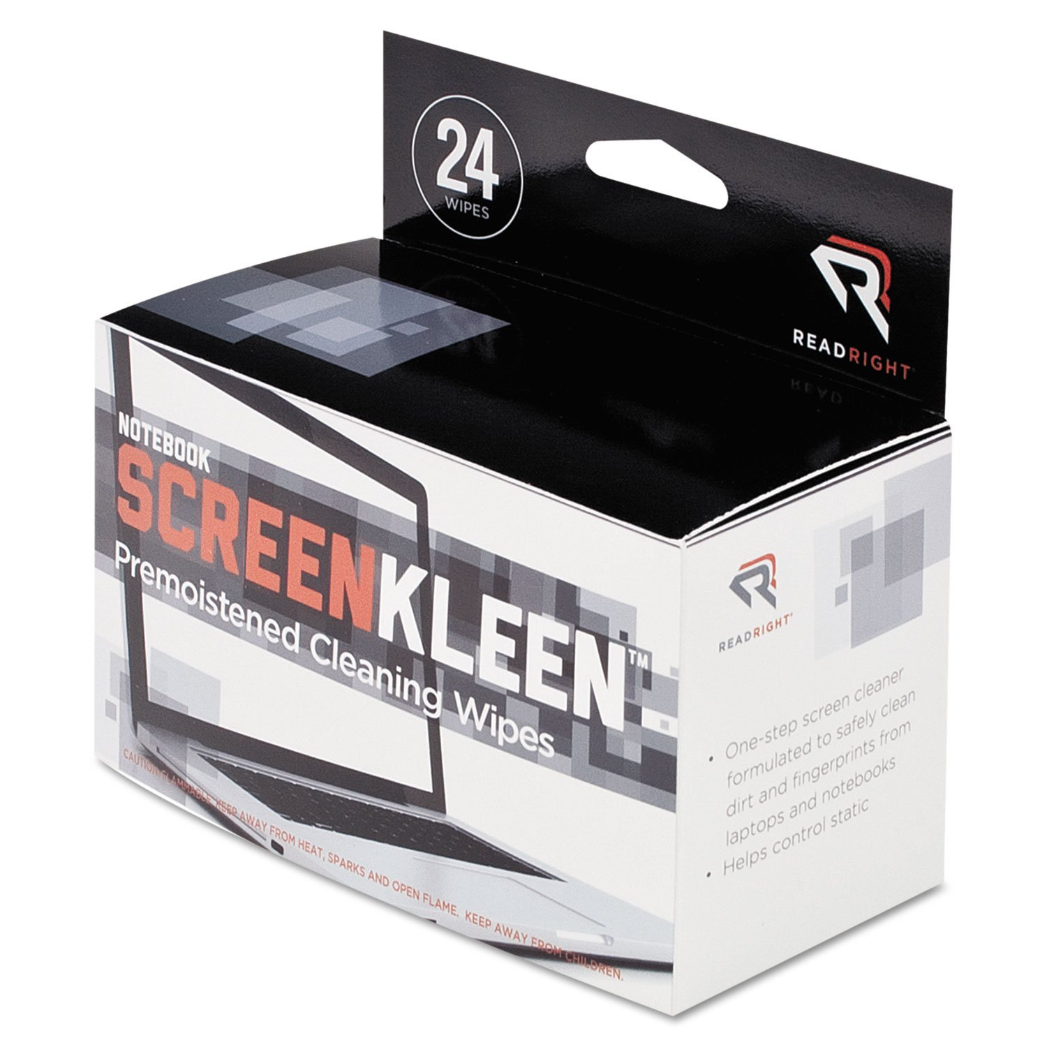 Read Right RR1217 Notebook ScreenKleen Pads, Cloth, 7 x 5, White, 24/Box by Read Right
