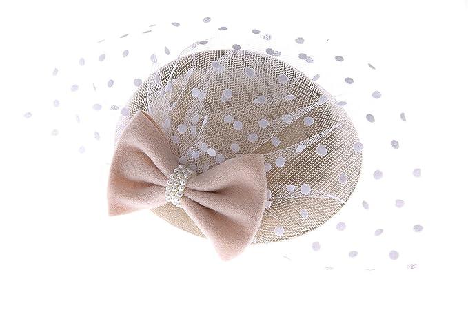 83532fd64e7 Women s Fascinators Hat Pillbox Hat Cocktail Party Hat with Veil Hair Clip  (Beige)
