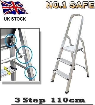 Escalera plegable de 3 peldaños, portátil, antideslizante, de aluminio, 2,3 kg, ligera para la oficina comercial de la casa, carga máxima 150 kg: Amazon.es: Bricolaje y herramientas