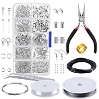 PP OPOUNT OP-0068 OPount Jewelry Findings Set Jewelry Making Kit Jewelry Findings Starter Kit Jewelry Beading Making and Repair Tools Kit Pliers Silver Beads Wire Starter Tool