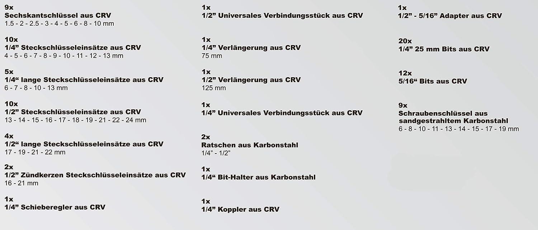 carracas de calidad 1//4 y 1//2 hecho de cromo vanadio 91 piezas Karcher Juego de llaves de carraca y de vaso