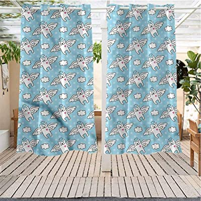 Outdoor Curtains Gazebo Outdoor Window Panels Christmas Decoration Angel Cat Angels Hearts Kitty Water Proof Fabric (38W X 54L) : Garden & Outdoor