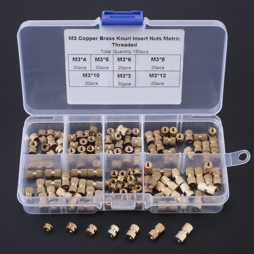 Akozon Innengewinde R/ändelmuttern,M3 Messing R/ändelmuttern Gewinde Sortiment Sortiment Set 150 St/ück Runde Spritzguss Messing Gewindeeinsatz Einbettung Muttern Sortiment Kit