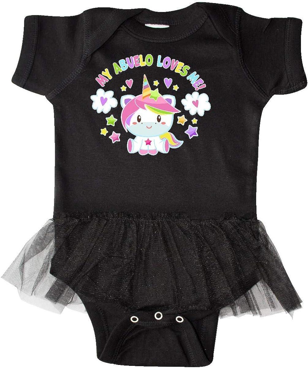 inktastic My Abuelo Loves Me with Cute Rainbow Unicorn Infant Tutu Bodysuit