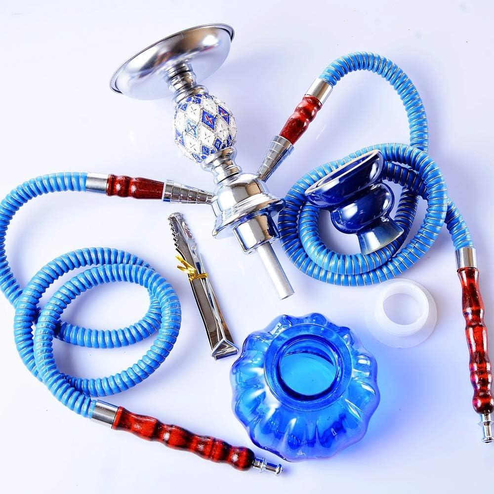 """Mini Narghilè da 10,7"""", Set di Kit Combinato per Narghilè A 2 Tubi, Set di Narghilè Arabo Premium, Set da Festa per Narghilè Shisha con 2 Tubi PRO Lounge,Yellow Blue"""