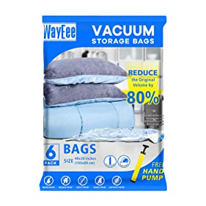 "Premium Reusable Vacuum Storage Bags with Free Hand Pump, Jumbo 6 pack (40""X30""), Durable Compression Bags for Clothes Blankets Comforters Pillows, Double Zip Seal & Leak Valve"