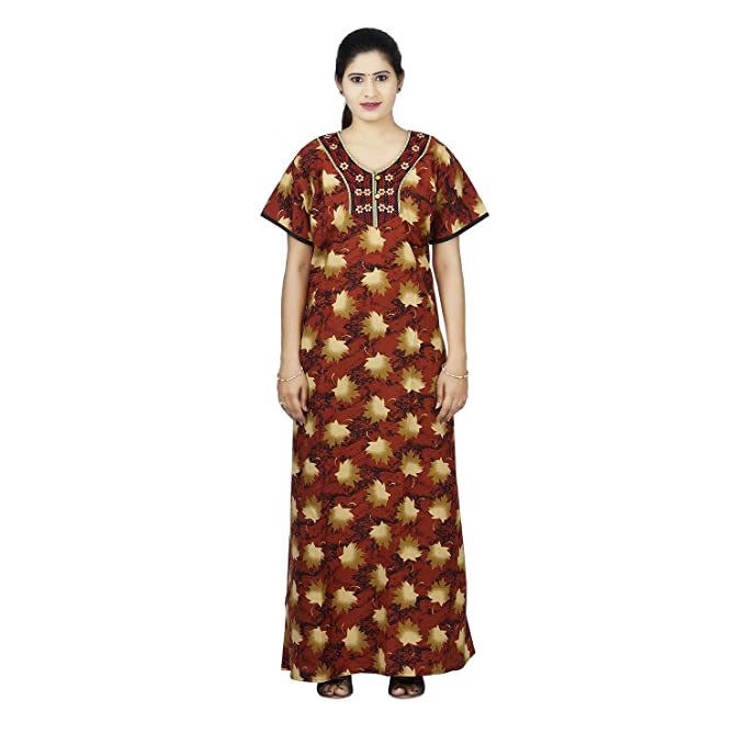 81370810f7 Yellow Colour Leave Design Printed Round Neck Lizzybizzy Nighty for ...