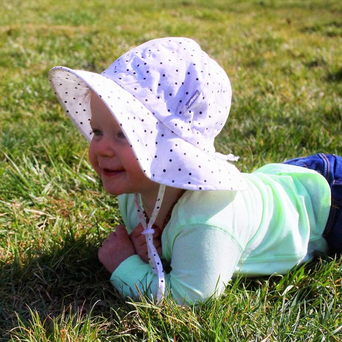 Breite Krempe UV Schutz 50 Baumwoll-Sonnenhut verstellbarem Kinnriemen Jan /& Jul Baby Kleinkind Kinder