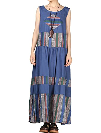 b1ab8b7f2 Mordenmiss Women s Sleeveless Contrast Color Holiday Maxi Dress L ...