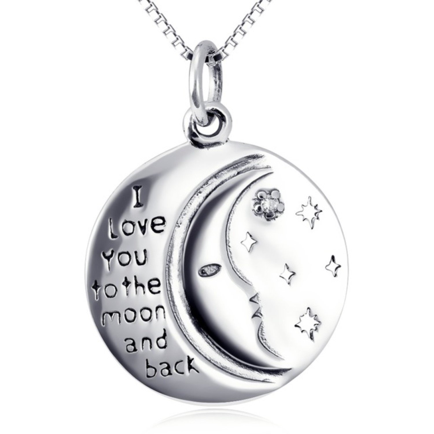 CS-DB I Love You to The Moon and Back Round Pandant Necklaces