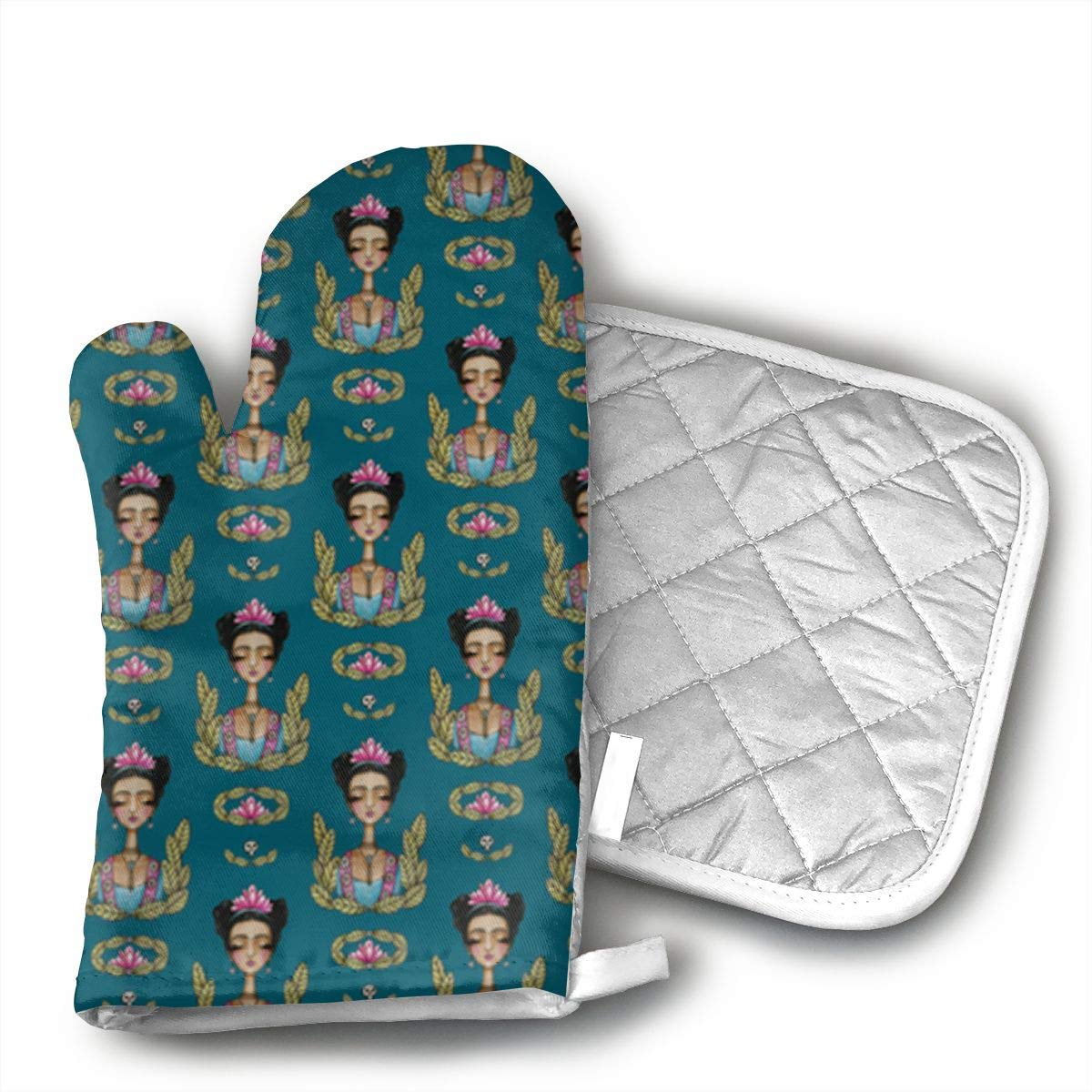 GRSTsys Frida Kahlo Pattern Oven Mitt Kitchen, Machine Washable and Heat Resistant for Cooking and Baking