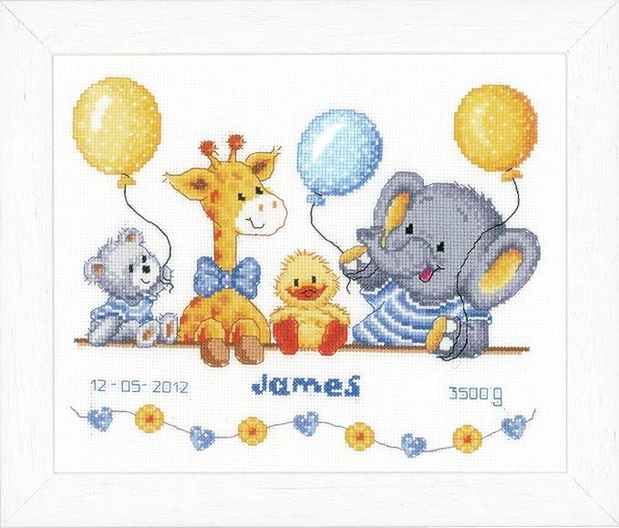 mehrfarbig Baumwolle ca Vervaco PN-0169612 Schlafendes Baby Stickpackung Z/ählmuster 25 x 24 cm // 10 x 9,6
