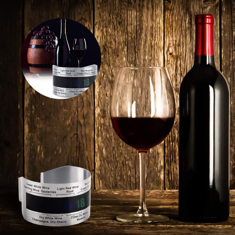 adatto per vino succo ecc. pratico termometro per bottiglia termometro per vino in acciaio inox YFOX termometro esterno per vino spumante sensore di temperatura del vino a forma di bracciale