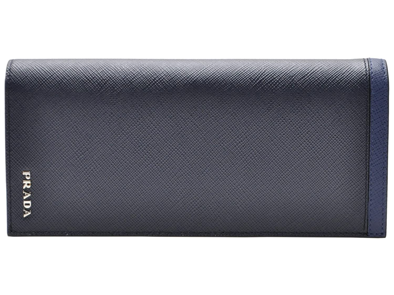 (プラダ) PRADA 財布 長財布 二つ折り メンズ ネイビー ブルー サフィアノレザー 2mv836safrig-babl ブランド [並行輸入品] B01GDO3UB2