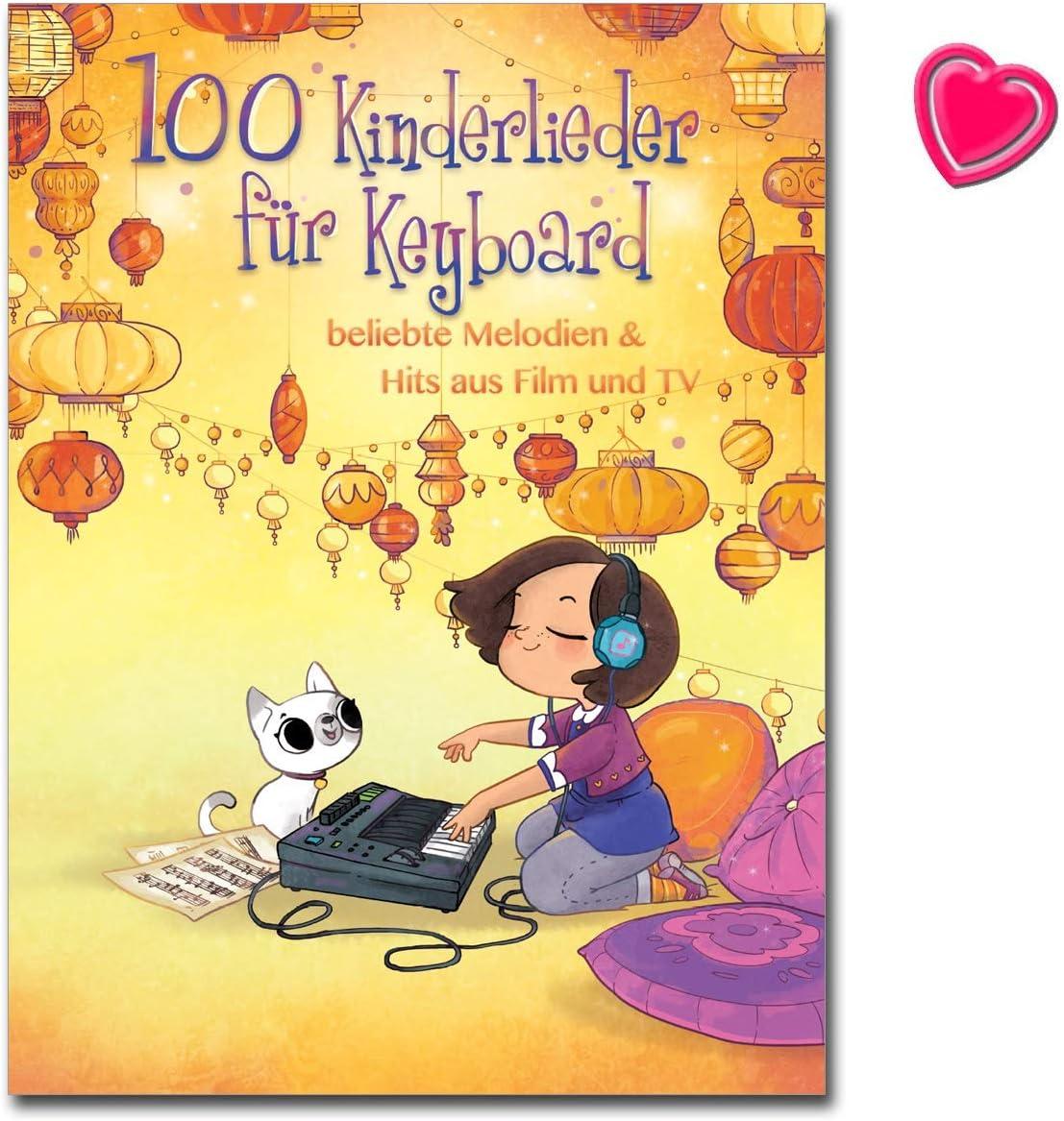 100 canciones infantiles para teclado, melodías populares a Hits de películas y TV, libro de canciones con colorido clip en forma de corazón
