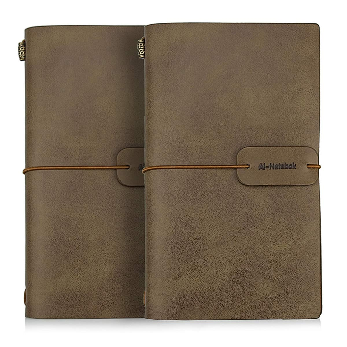 Travelers Notebook Refillable Leather Journal - Antique Handmade Vintage Faux Leather Bound Notebook for Men & Women, 4.72x7.87 Inch, 2 Pack