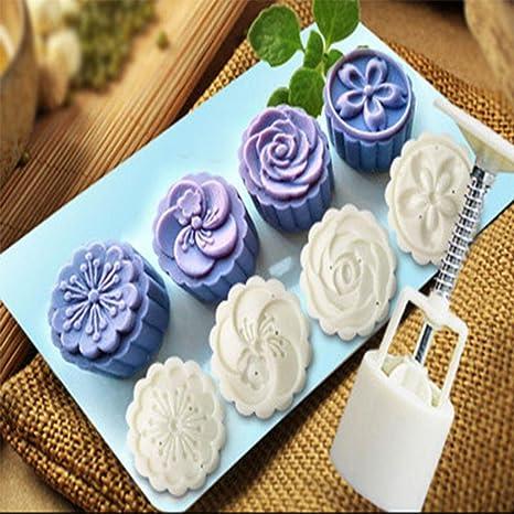 zomup 4 flor sellos de estilo para magdalenas pastel de luna molde hecho a mano set
