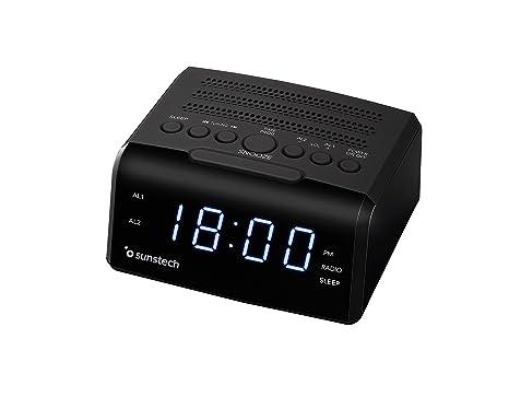 Sunstech FRD35U - Radio despertador con alarma dual, pantalla LED, FM, USB,