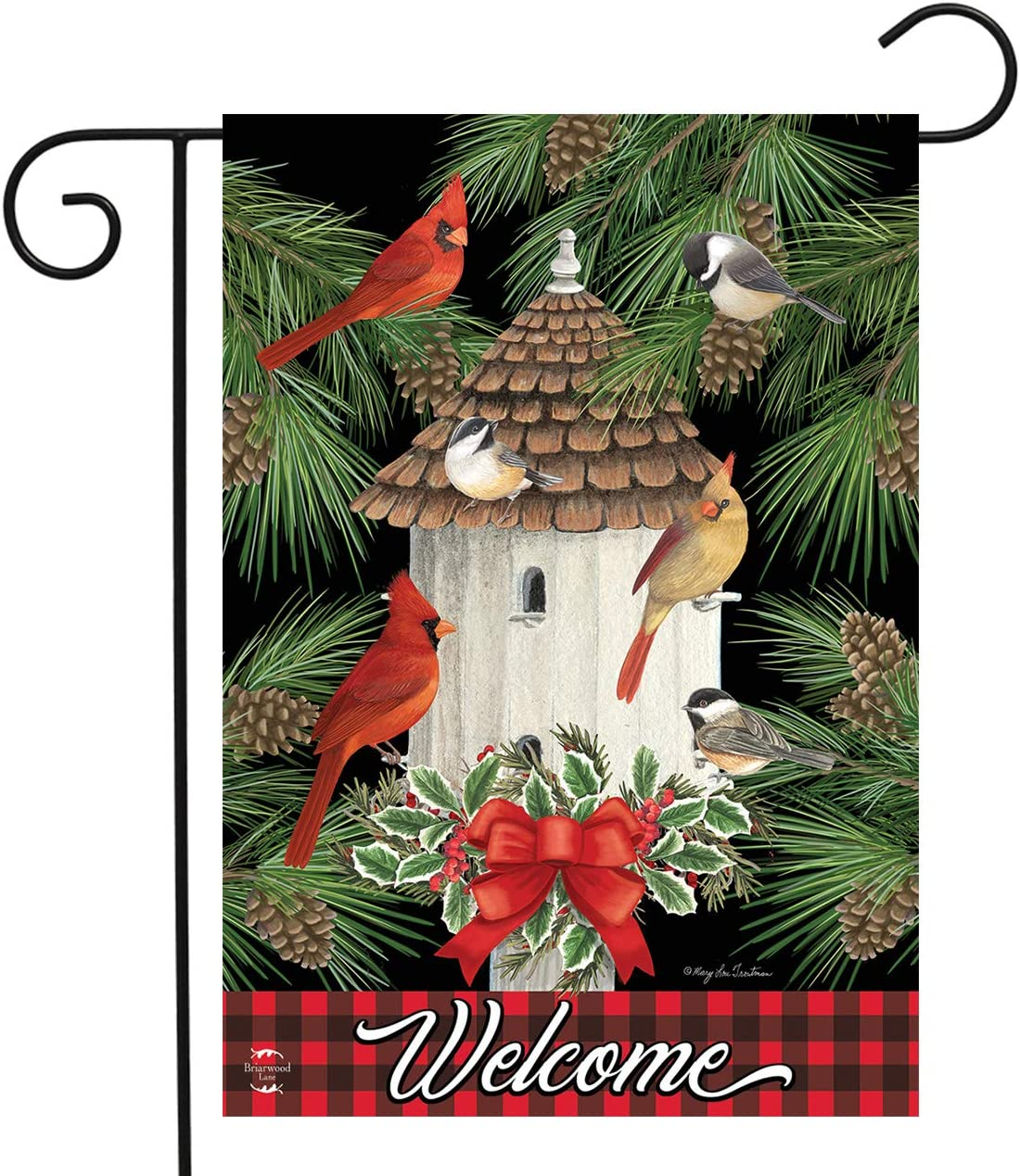 "Briarwood Lane Holiday Bird Gathering Garden Flag Welcome Birdhouse 12.5"" x 18"""