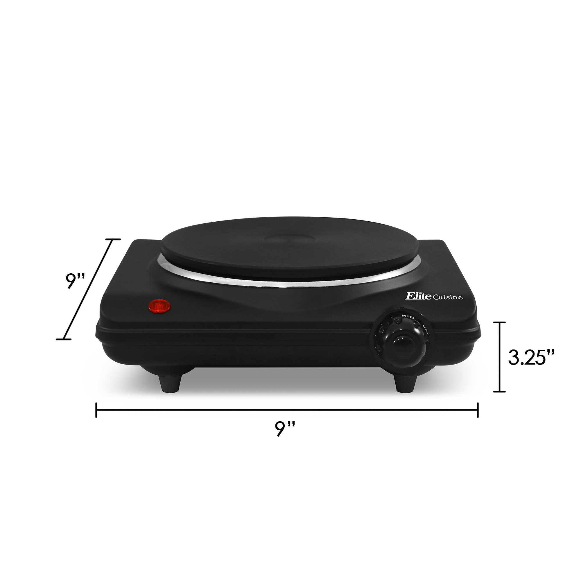 Elite Cuisine ESB-301BF Single Countertop Portable Buffet Burner Electric Hot Plate, Heavy duty flat cast iron heating plate, power indicator light, non-skid feet, easy to clean, 1000 Watts, Black by Maxi-Matic (Image #4)