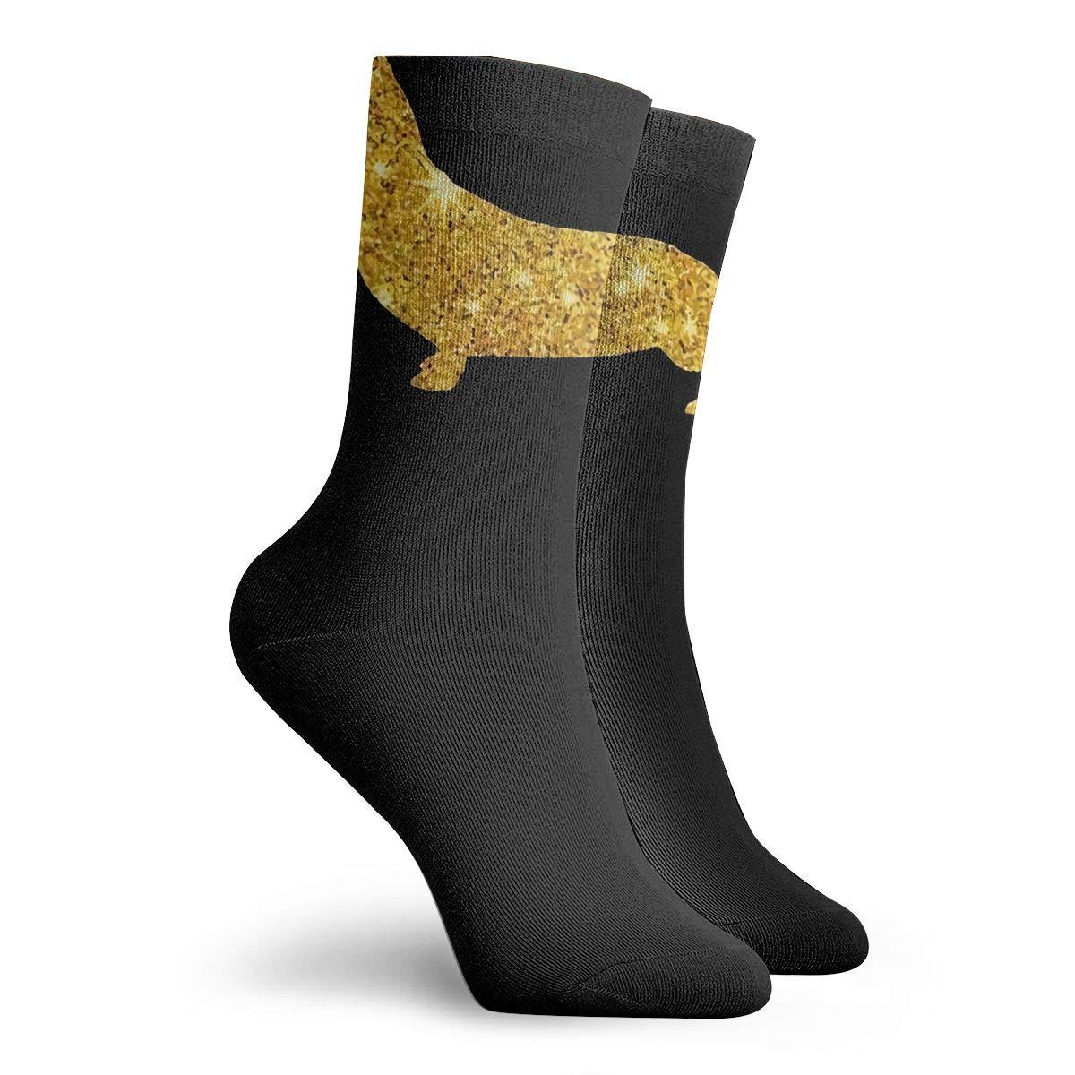 Gold Daschund Dog Fashion Dress Socks Short Socks Leisure Travel 11.8 Inch