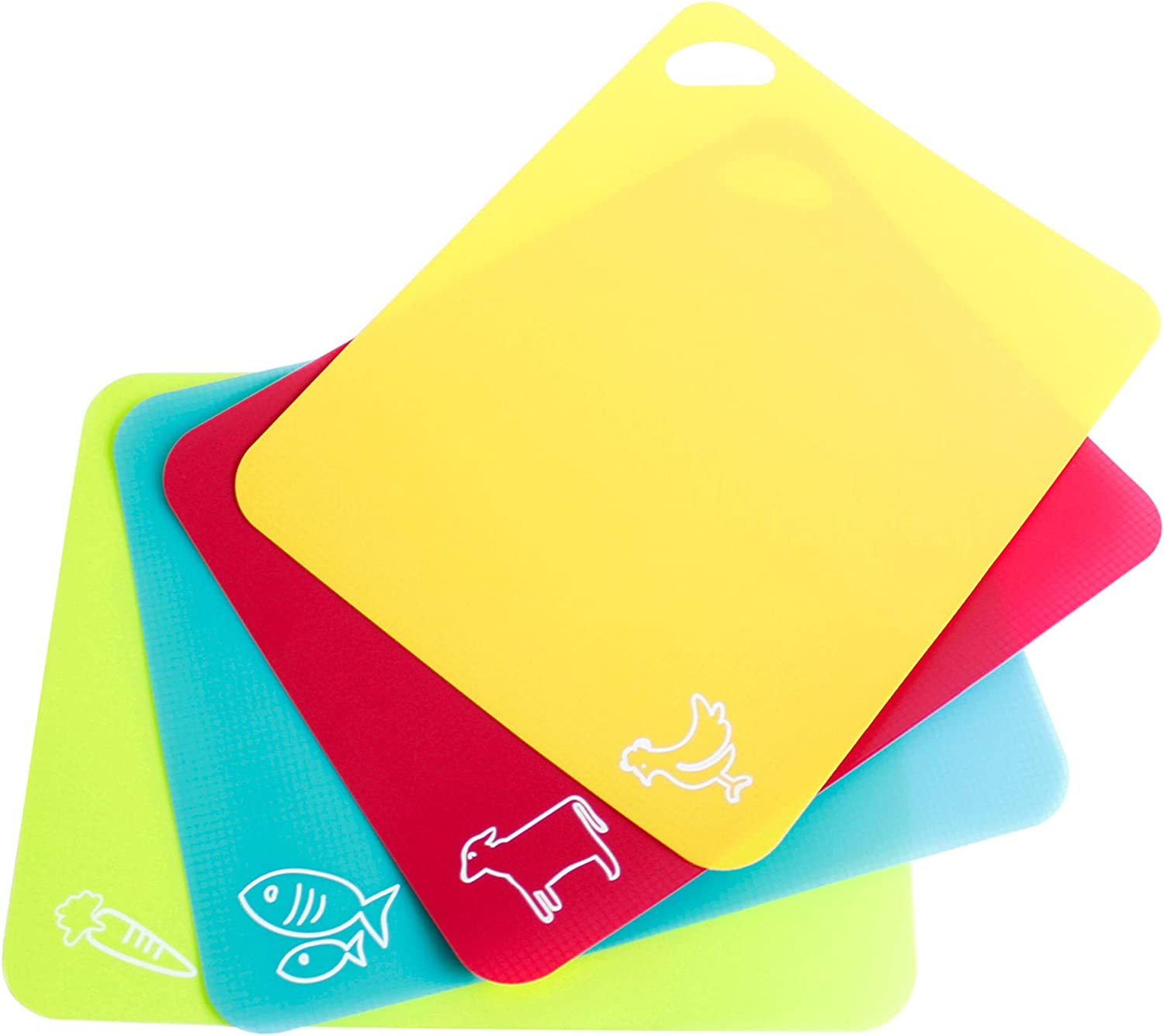 Neoflam 15'' 4pc Thick Flexible Coded Cutting Board Mats Set with Food Icons Slip Waffle Back Grip, BPA Free, Non-Porous, Dishwasher Safe for Kitchen Prep, One Size, Multicolor