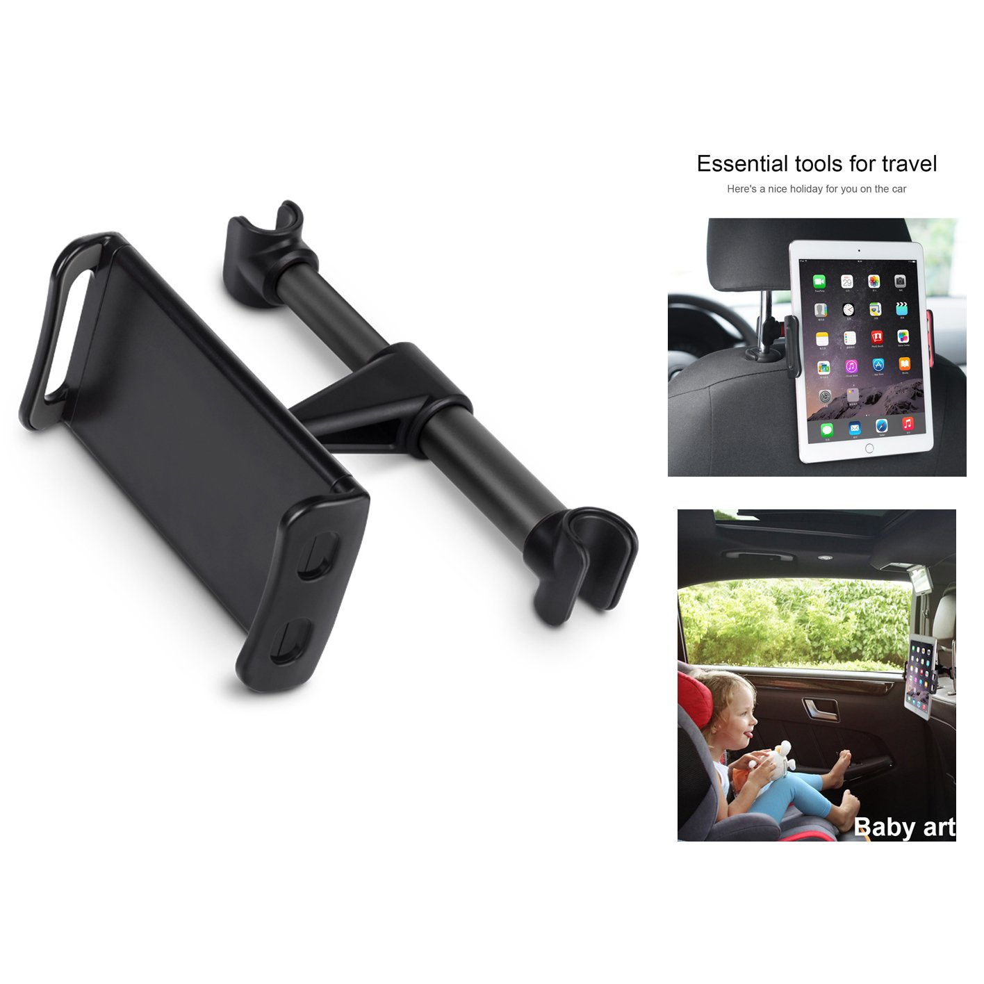"""Car Headrest Mount, Yuntone Car Seat Tablet Holder for iPad/Samsung Galaxy Tabs/Amazon Kindle Fire HD/Nintendo Switch/Other Devices 4""""-10.1"""" (Black) by Yuntone (Image #6)"""