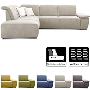 CAVADORE Ecksofa Tabagos / Große Couch mit Ottomane links / Modernes Sofa  mit Sitztiefenverstellung / verstellbare Rückenlehne / 283 x 85 x 248 / ...