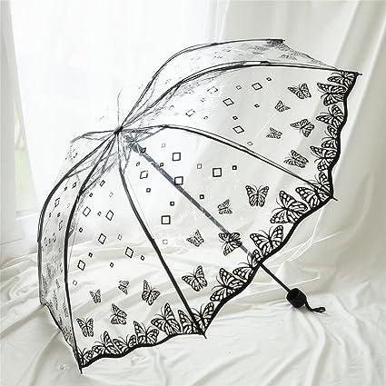 Retro Paraguas Transparente PVC Tres Paraguas Plegable Hombres y Mujeres Paraguas Impermeable Protector Solar (Color