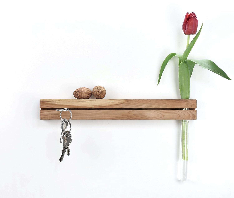 Schlüsselleiste Eberesche mit Reagenzglasvase Blumenvase