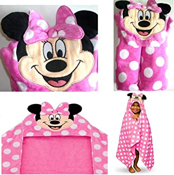 Disney Minnie Mouse Pink Ears Polka Dots Swimsuit Cover Up Pool Hooded Towel NEW