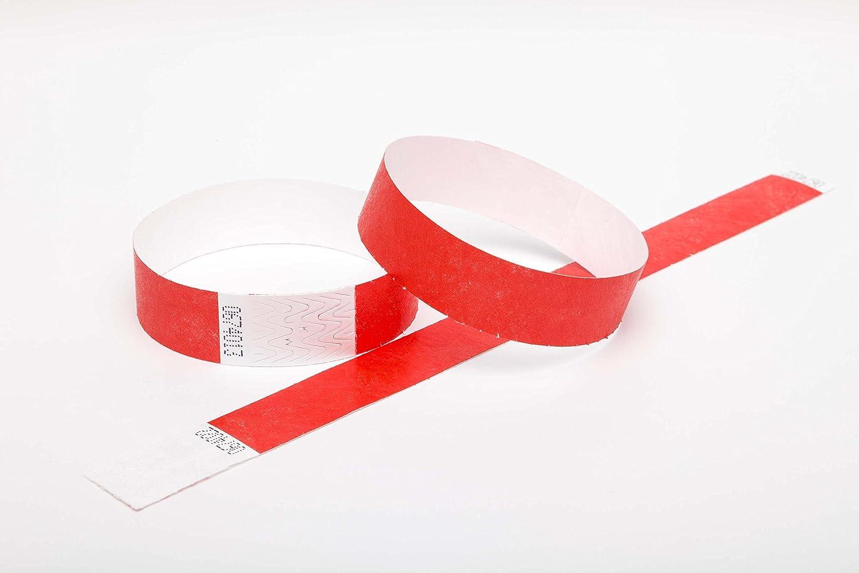 500 RED Premium Tyvek Wristbands UK Wristbands