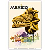 Mexico - Kukulkan, Feathered Serpent - Mayan Snake Diety - Vintage Travel Poster by Howard Koslow c.1963 - Master Art Print 1