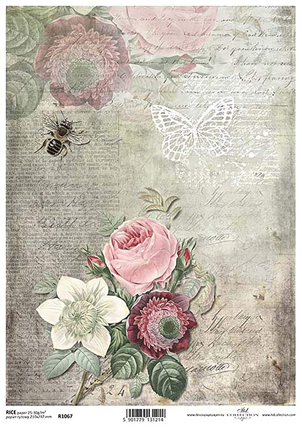 Flowers and Bee Sepia Decoupage Rice Paper R1067-1 x A4 Sheet of decoupage Rice Paper
