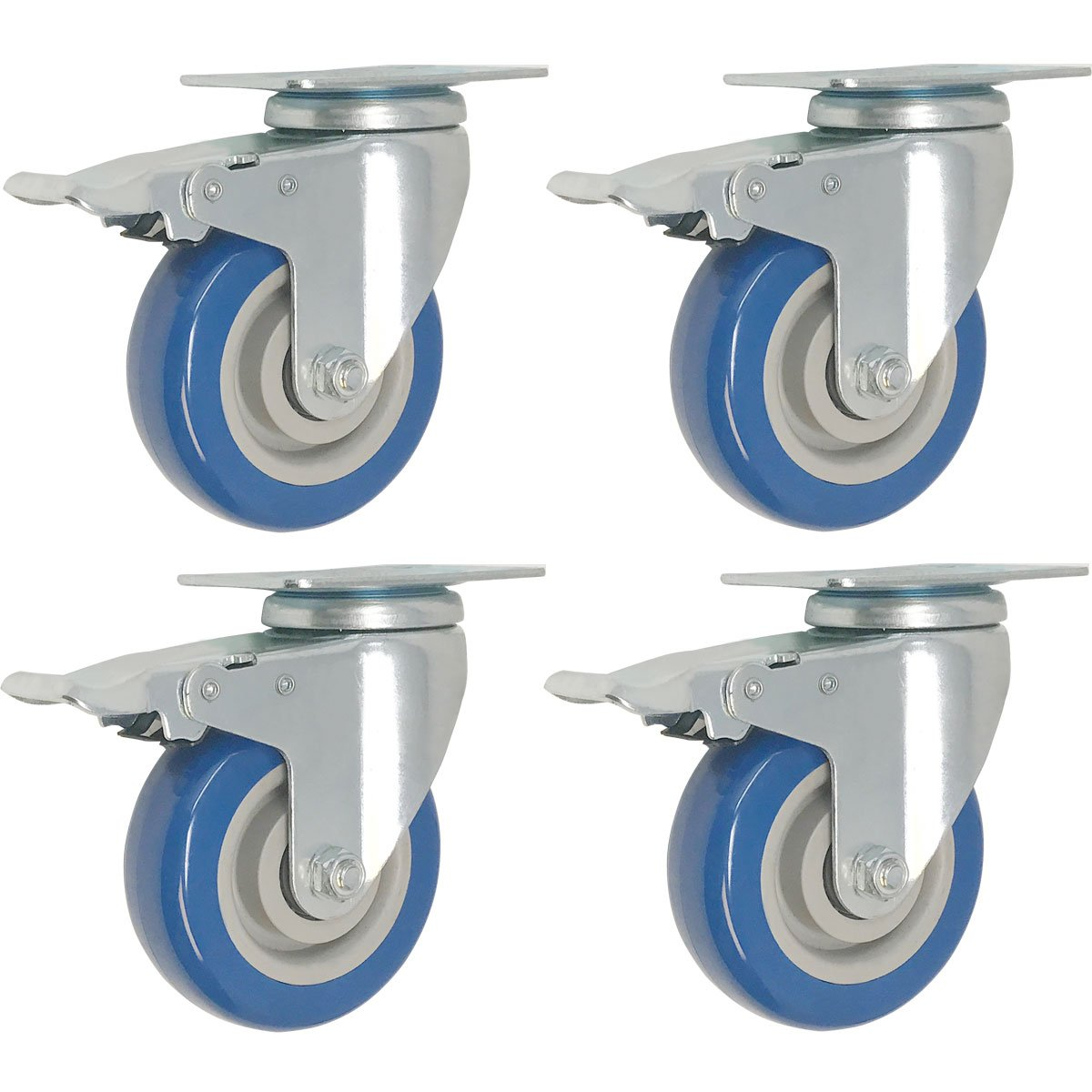 4 Pack Caster Wheels Swivel Plate w Brake Casters On Blue Polyurethane Wheels 5 inch with Brake
