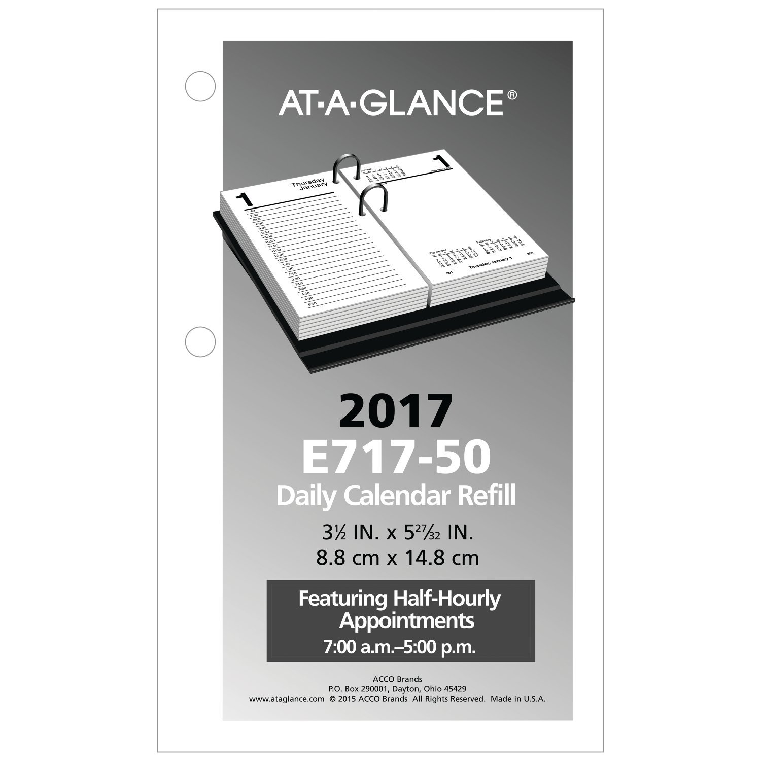 AT-A-GLANCE Daily Desk Calendar 2017Refill, January - December, 3-1/2 x 6'' (E71750) by AT-A-GLANCE (Image #2)
