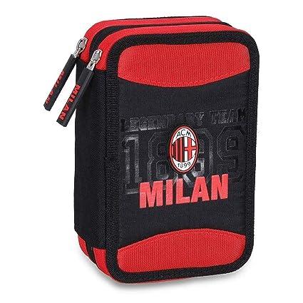 A.C. Milan - Estuche escolar con 3 cremalleras, colección ...